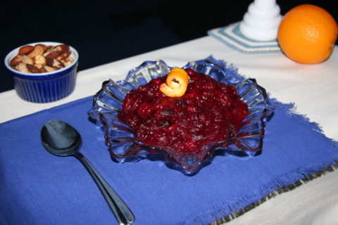 cranberry sauce on a glass dish