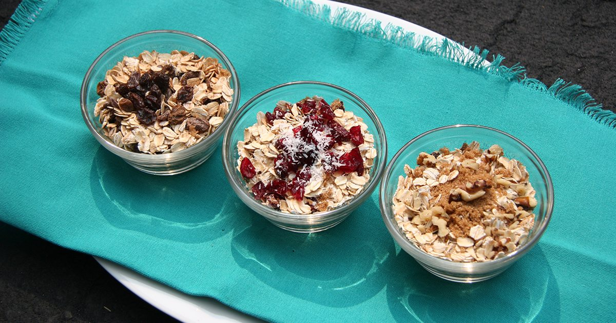 three varieties of oatmeal flavors